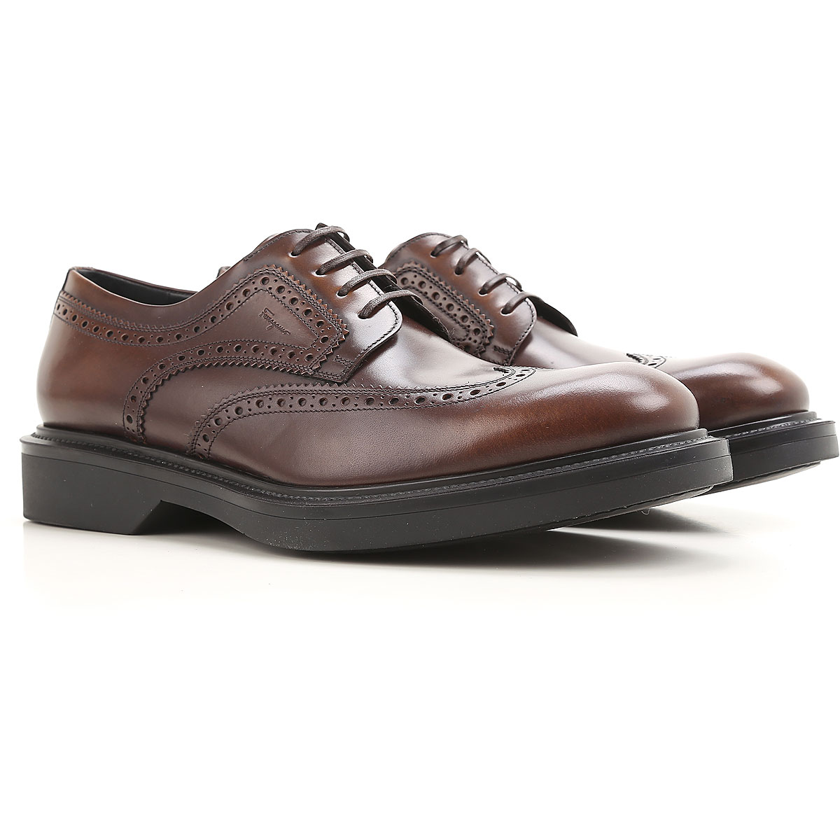 Image of Salvatore Ferragamo Brogue Shoes On Sale in Outlet, Brown, Leather, 2017, 10.5 11.5 9.5