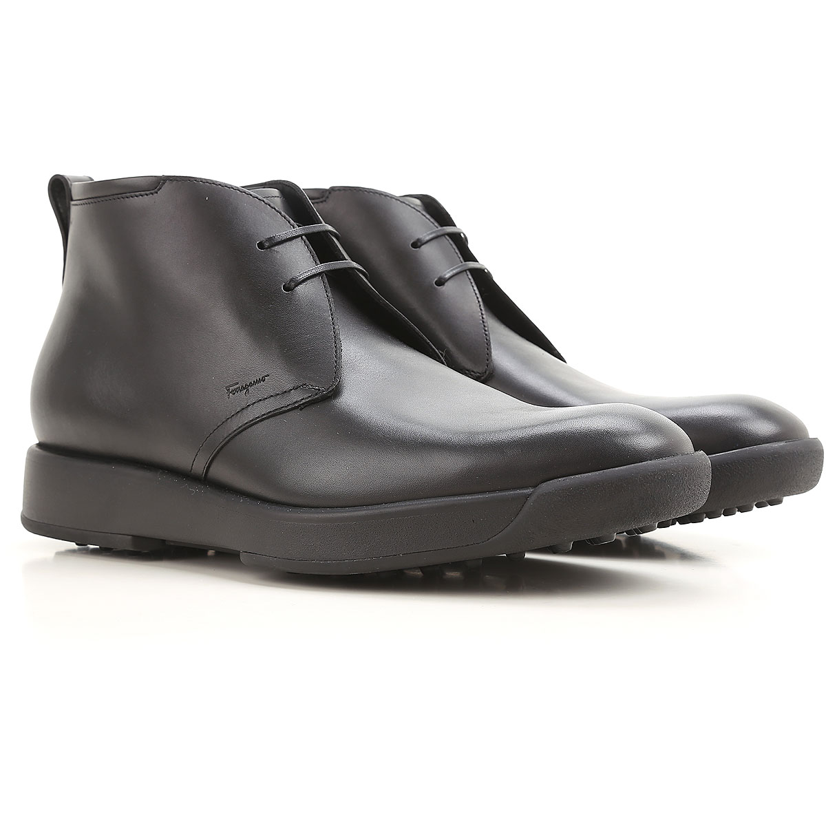 Image of Salvatore Ferragamo Boots for Men, Booties On Sale in Outlet, Black, Leather, 2017, 10.5 11.5 8.5 9 9.5
