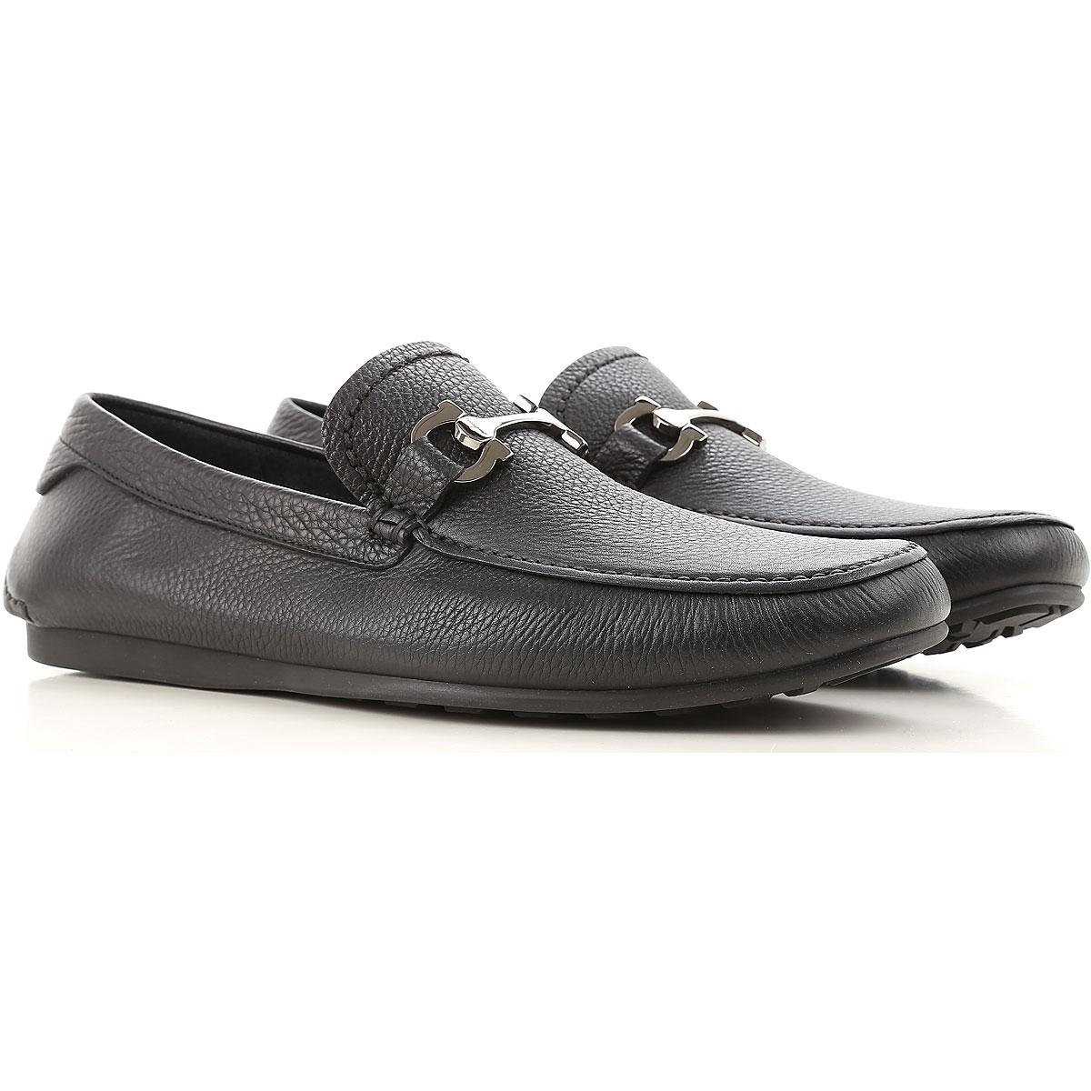 Image of Salvatore Ferragamo Loafers for Men On Sale, Black, Leather, 2017, 8 8.5