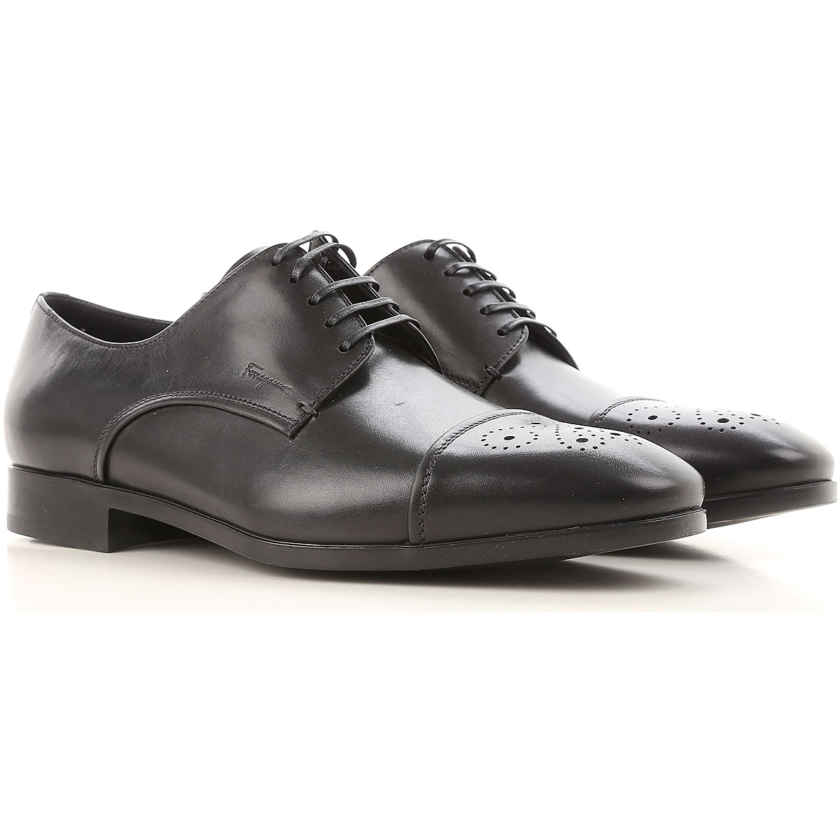 Image of Salvatore Ferragamo Lace Up Shoes for Men Oxfords, Derbies and Brogues On Sale, Black, Leather, 2017, 8.5 9