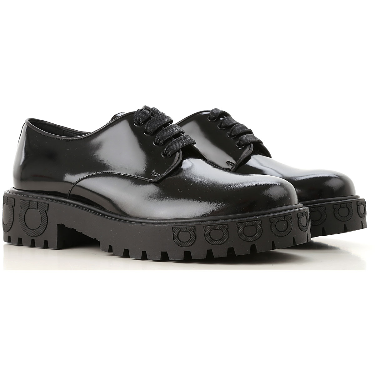 Image of Salvatore Ferragamo Lace Up Shoes for Men Oxfords, Derbies and Brogues, Black, Leather, 2017, 7 7.5 8.5 9 9.5