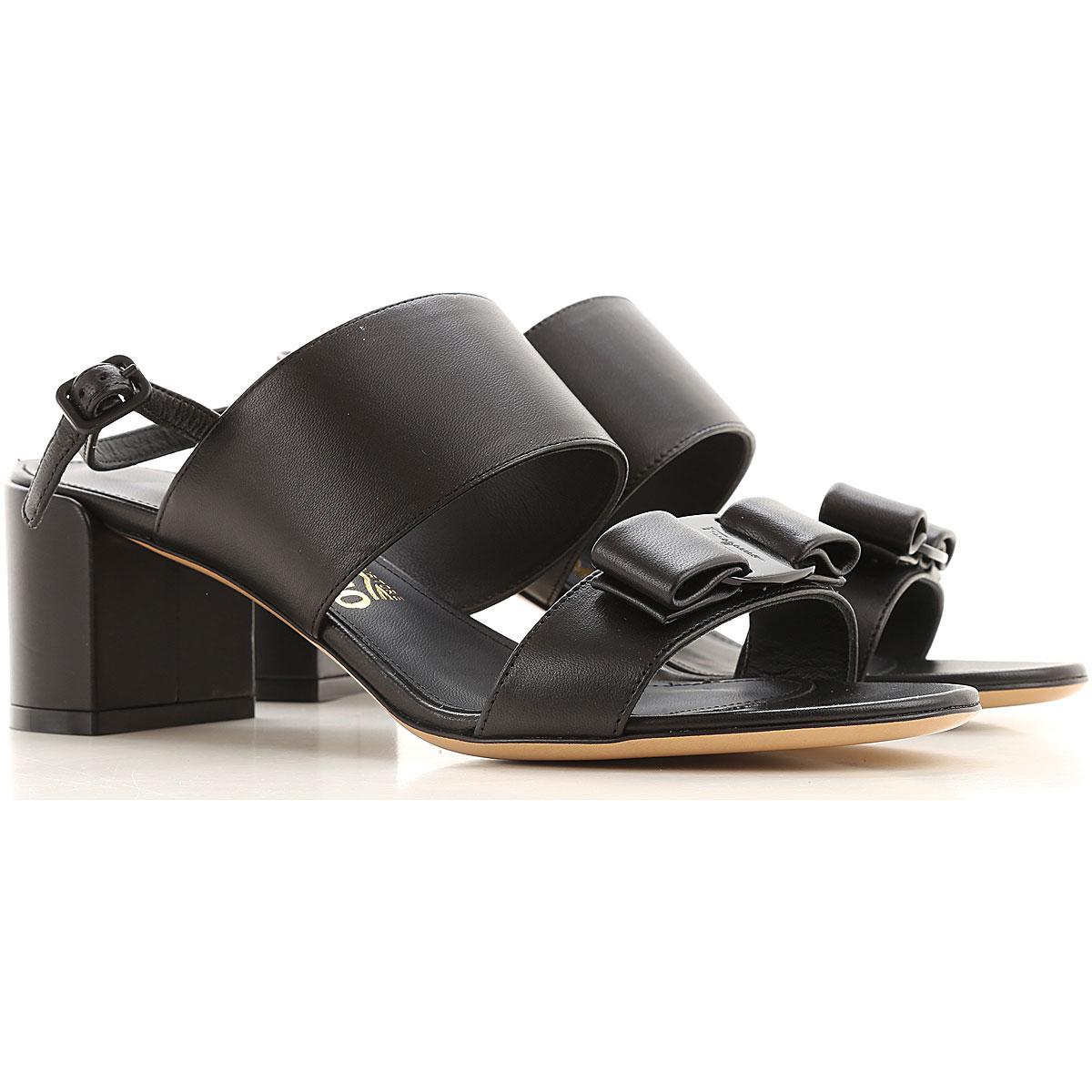 Salvatore Ferragamo Sandals for Women On Sale, Black, Leather, 2019, 8.5 9.5