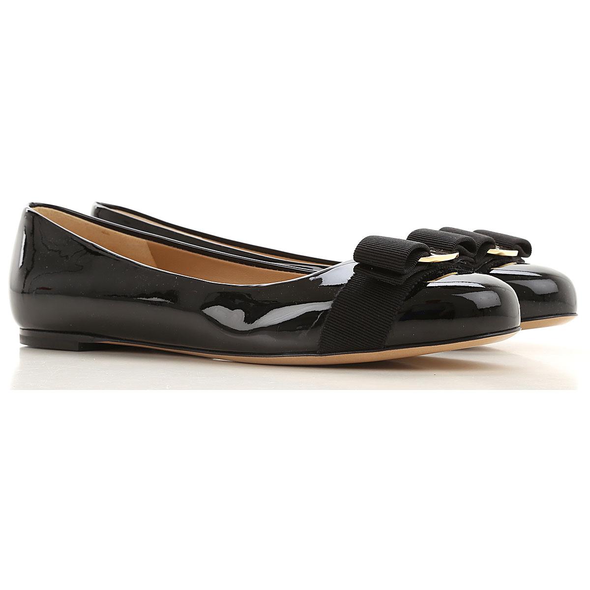 Salvatore Ferragamo Ballet Flats Ballerina Shoes for Women On Sale, Black, Patent Leather, 2019, 5 5.5