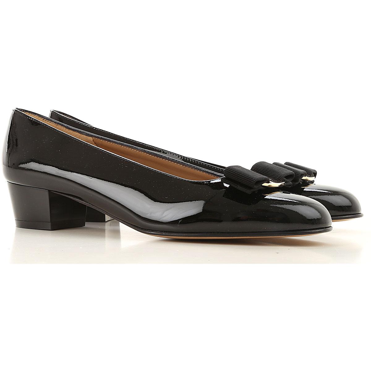 Salvatore Ferragamo Ballet Flats Ballerina Shoes for Women On Sale, Black, Patent Leather, 2019, 5.5 6