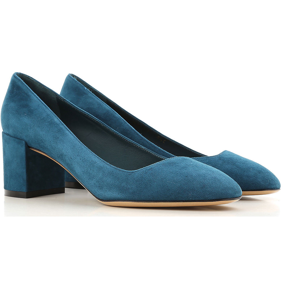 Salvatore Ferragamo Womens Shoes On Sale in Outlet, Petroleum, Suede leather, 2019, 4.5 7