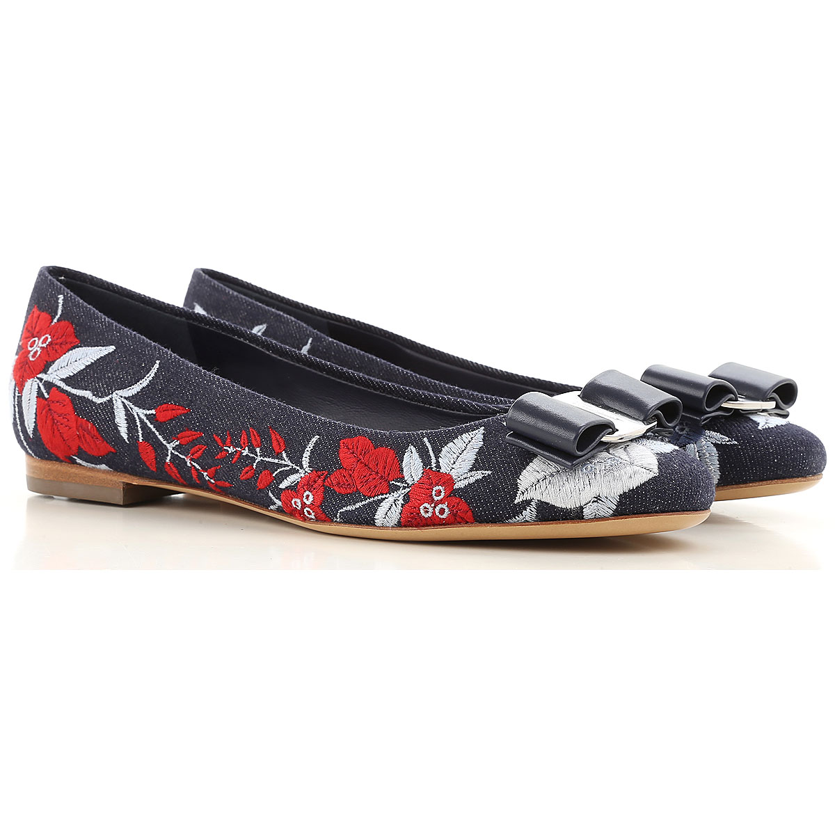 Image of Salvatore Ferragamo Ballet Flats Ballerina Shoes for Women On Sale in Outlet, Blu Denim, Leather, 2017, 5.5 6.5