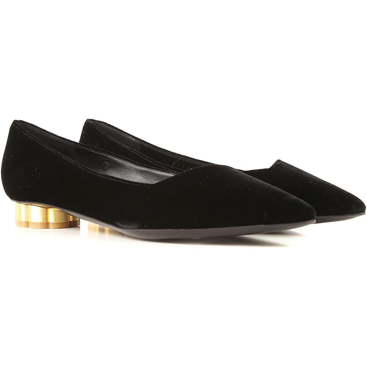 Salvatore Ferragamo Ballet Flats Ballerina Shoes for Women On Sale in Outlet, Black, Velvet, 2019, 6 6.5 8 8.5