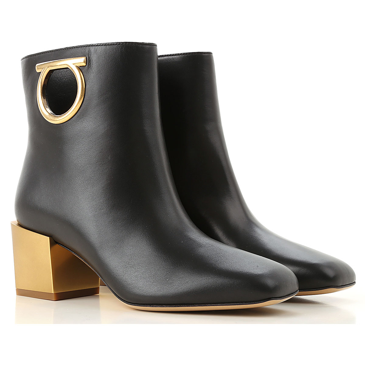 Salvatore Ferragamo Boots for Women, Booties On Sale in Outlet, Black, Leather, 2019, 6 8 8.5 9.5