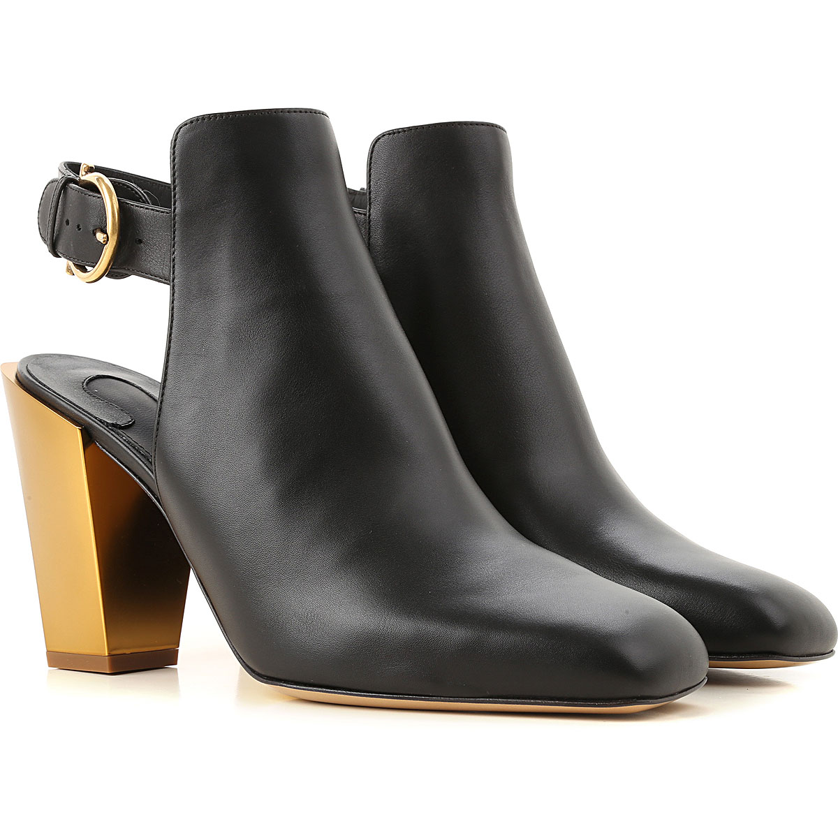 Salvatore Ferragamo Boots for Women, Booties On Sale in Outlet, Black, Leather, 2019, 5.5 6 7 8.5
