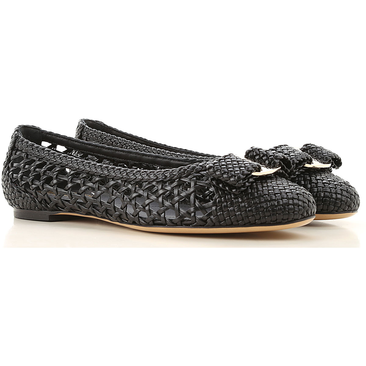 Salvatore Ferragamo Ballet Flats Ballerina Shoes for Women On Sale in Outlet, Black, Leather, 2019, 5.5 6 8.5