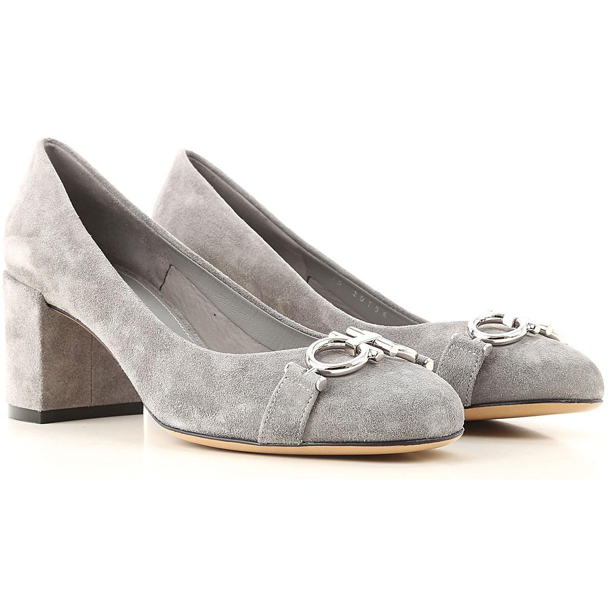 Salvatore Ferragamo Pumps & High Heels for Women On Sale, Mercury Grey, Suede leather, 2019, 5 5.5 6.5 8 8.5 9.5