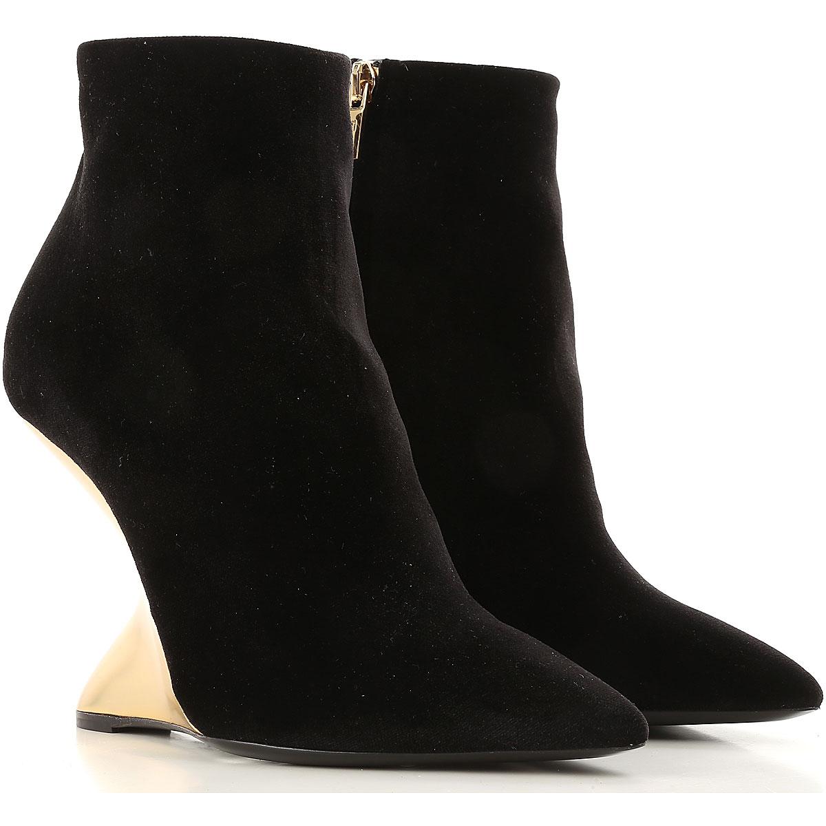 Image of Salvatore Ferragamo Boots for Women, Booties On Sale in Outlet, Black, Velvet, 2017, 6.5 7