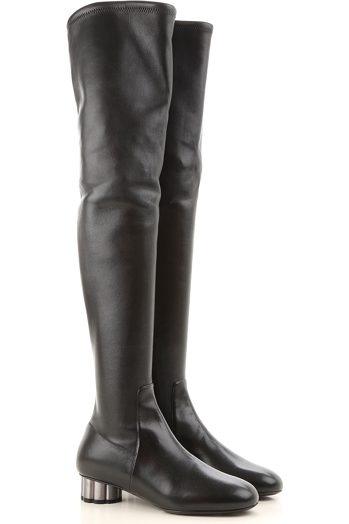 Image of Salvatore Ferragamo Boots for Women, Booties On Sale in Outlet, Black, Leather, 2017, 6.5 7 8 8.5