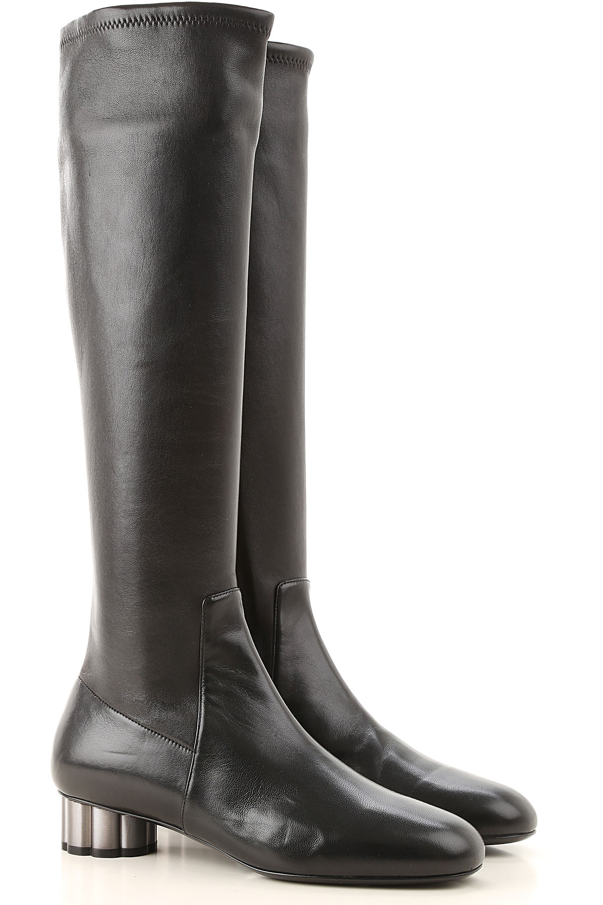 Salvatore Ferragamo Boots for Women, Booties On Sale in Outlet, Black, Leather, 2019, 5.5 6.5 7 8 8.5