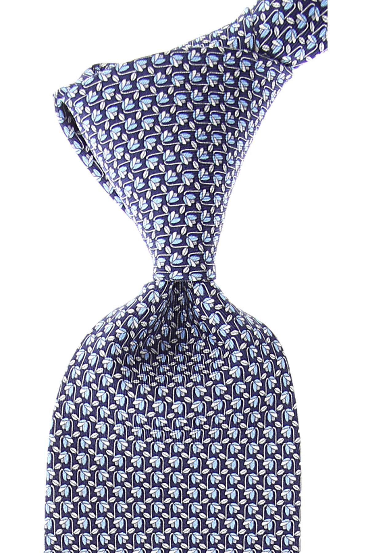 Salvatore Ferragamo Cravates Pas cher en Soldes, Bleu nuit, Soie, 2019