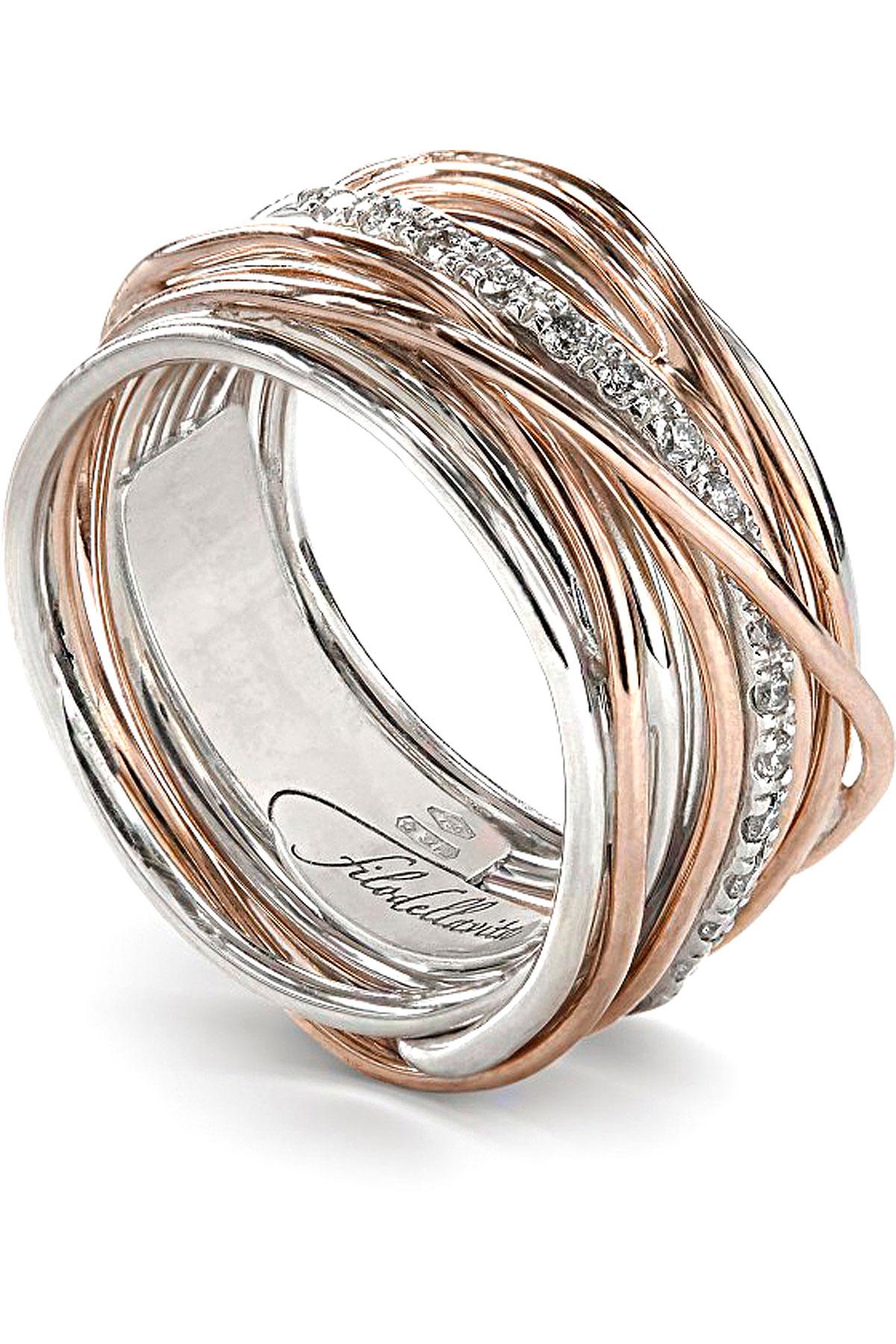 Filo Della Vita Ring for Women, Silver, 9 kt Pink Gold, 2019, USA 6 3/4 ( I 14 - GB N) USA 7 ( I 15 - GB N 1/2) USA 8 ( I 17 - GB P 1/2) USA 8 1/2 ( I