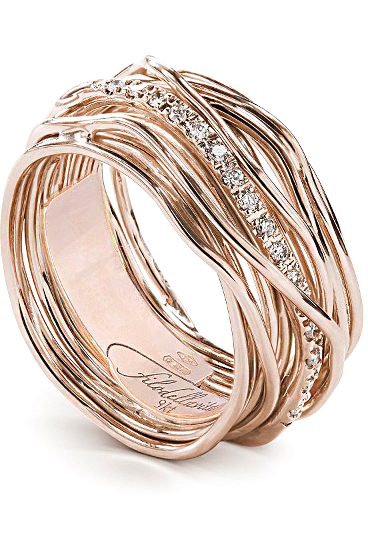 Filo Della Vita Ring for Women, Gold Pink, 9 kt Pink Gold, 2019, USA 6 3/4 ( I 14 - GB N) USA 7 ( I 15 - GB N 1/2) USA 8 ( I 17 - GB P 1/2) USA 8 1/2