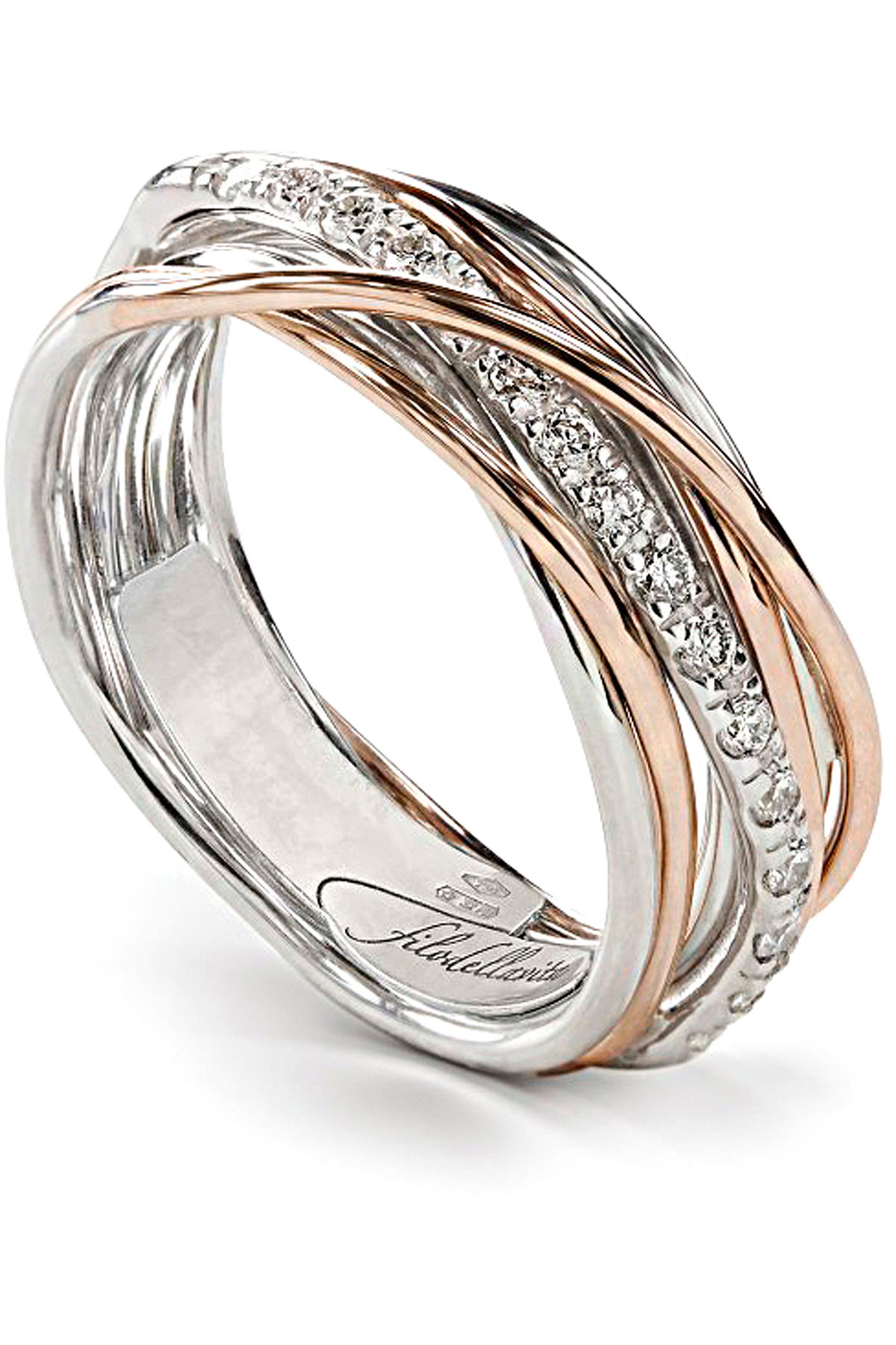 Filo Della Vita Ring for Women, Golden Pink, 9 kt Pink Gold, 2019, USA 6 3/4 ( I 14 - GB N) USA 7 ( I 15 - GB N 1/2) USA 8 ( I 17 - GB P 1/2) USA 8 1/