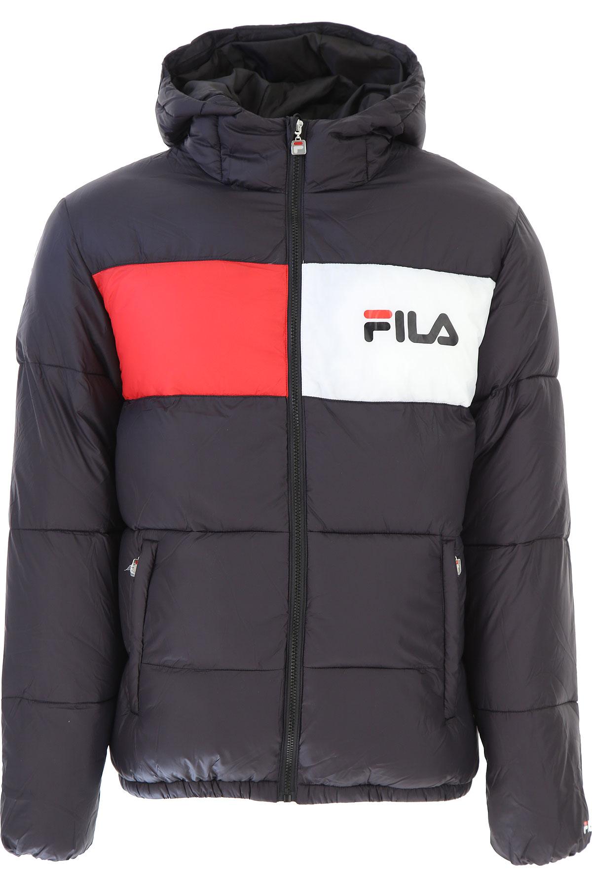 Image of Fila Down Jacket for Men, Puffer Ski Jacket, Black, polyamide, 2017, L M S XL