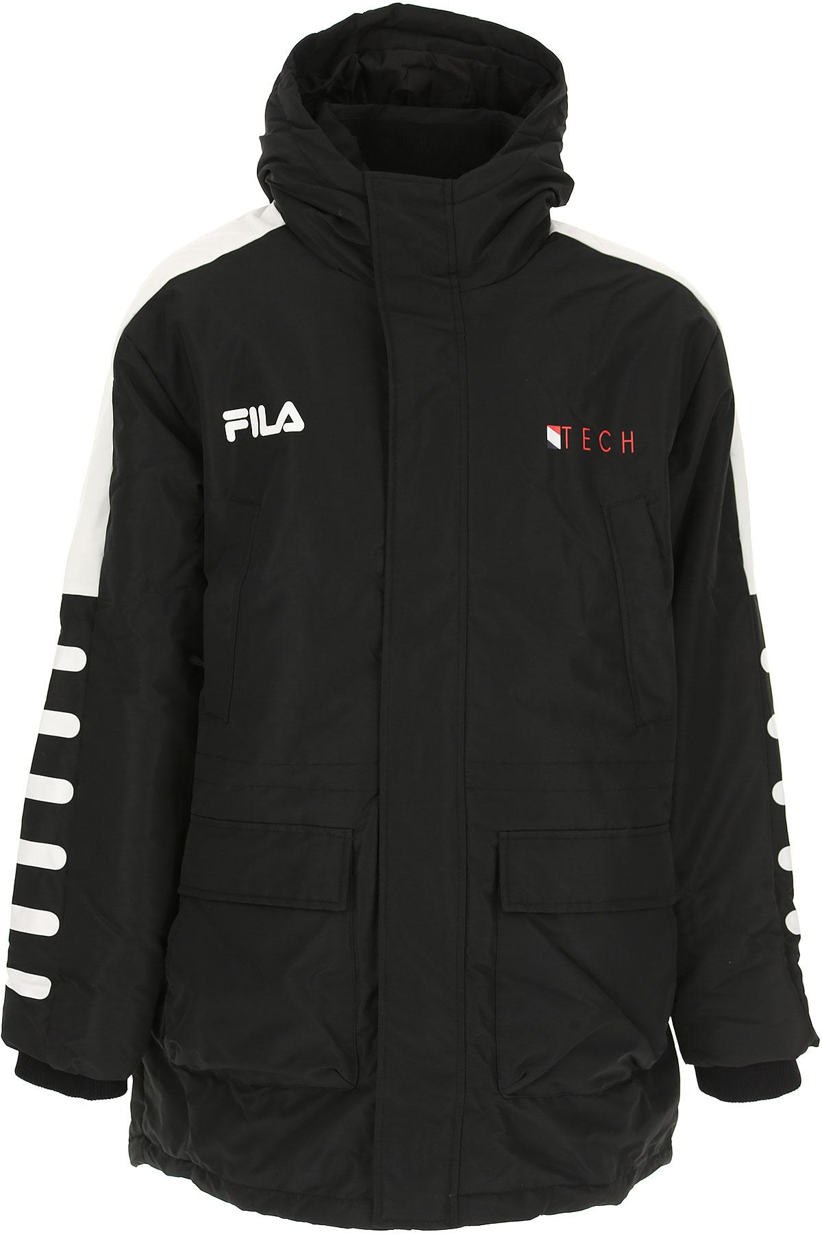 Image of Fila Down Jacket for Men, Puffer Ski Jacket, Black, polyester, 2017, L M S XL