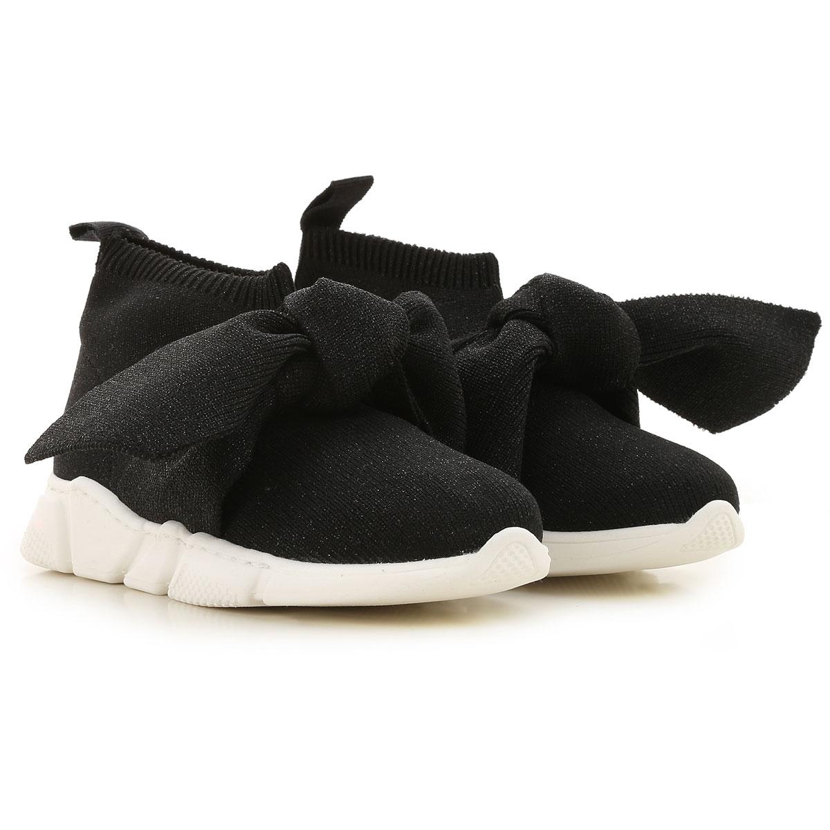 Florens Kids Shoes for Girls On Sale, Black, lurex, 2019, 20 21 22 24 25 26 27 28