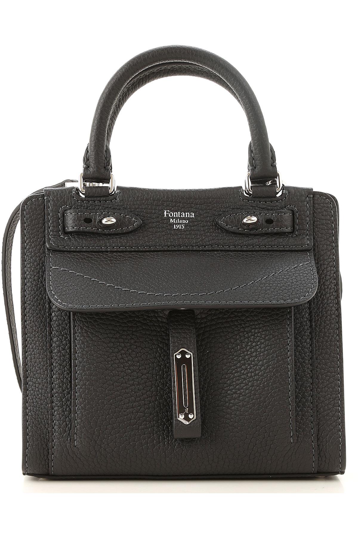 Fontana Top Handle Handbag, Black, Crackle Leather, 2019