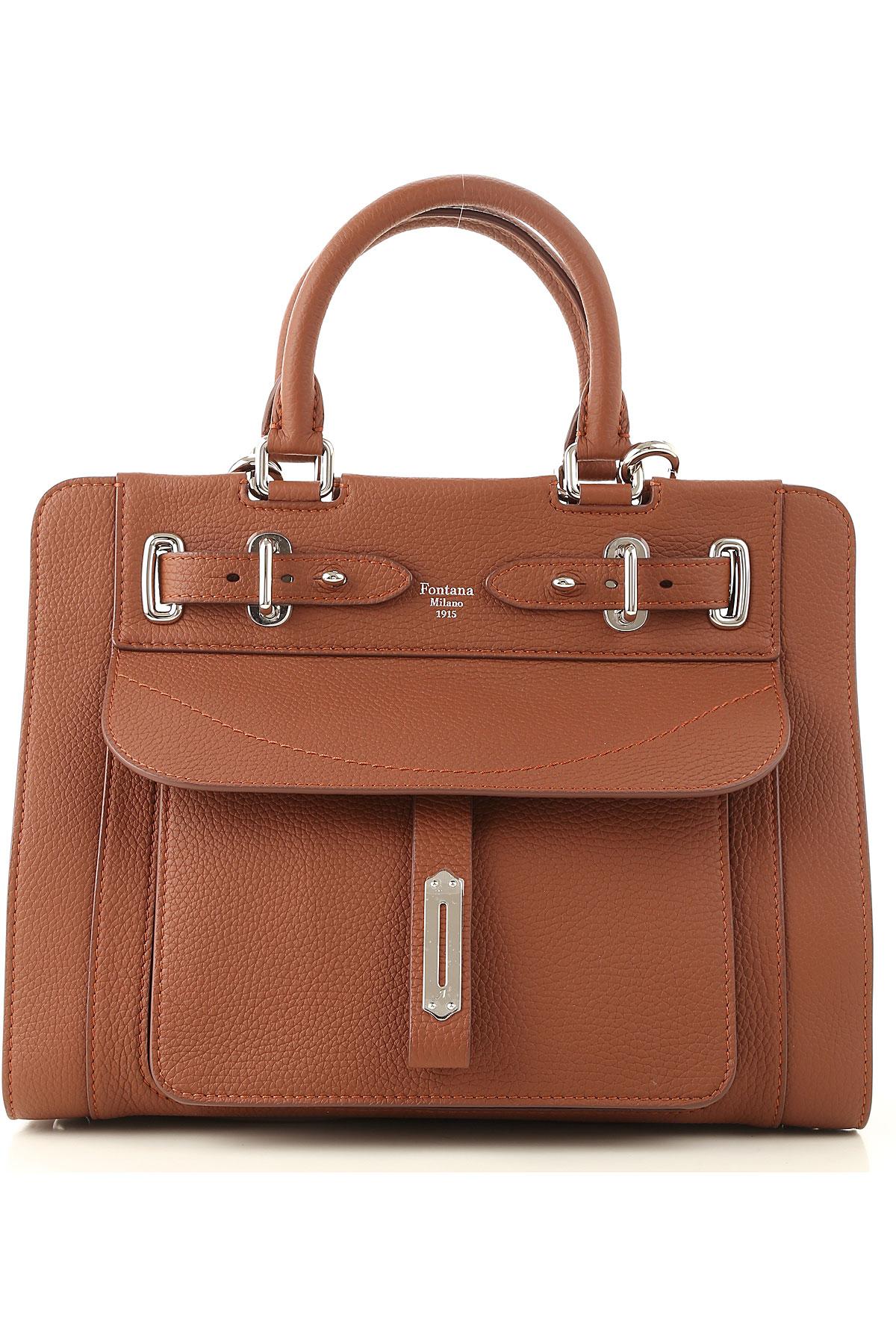 Fontana Top Handle Handbag, Red Brown, Crackle Leather, 2019