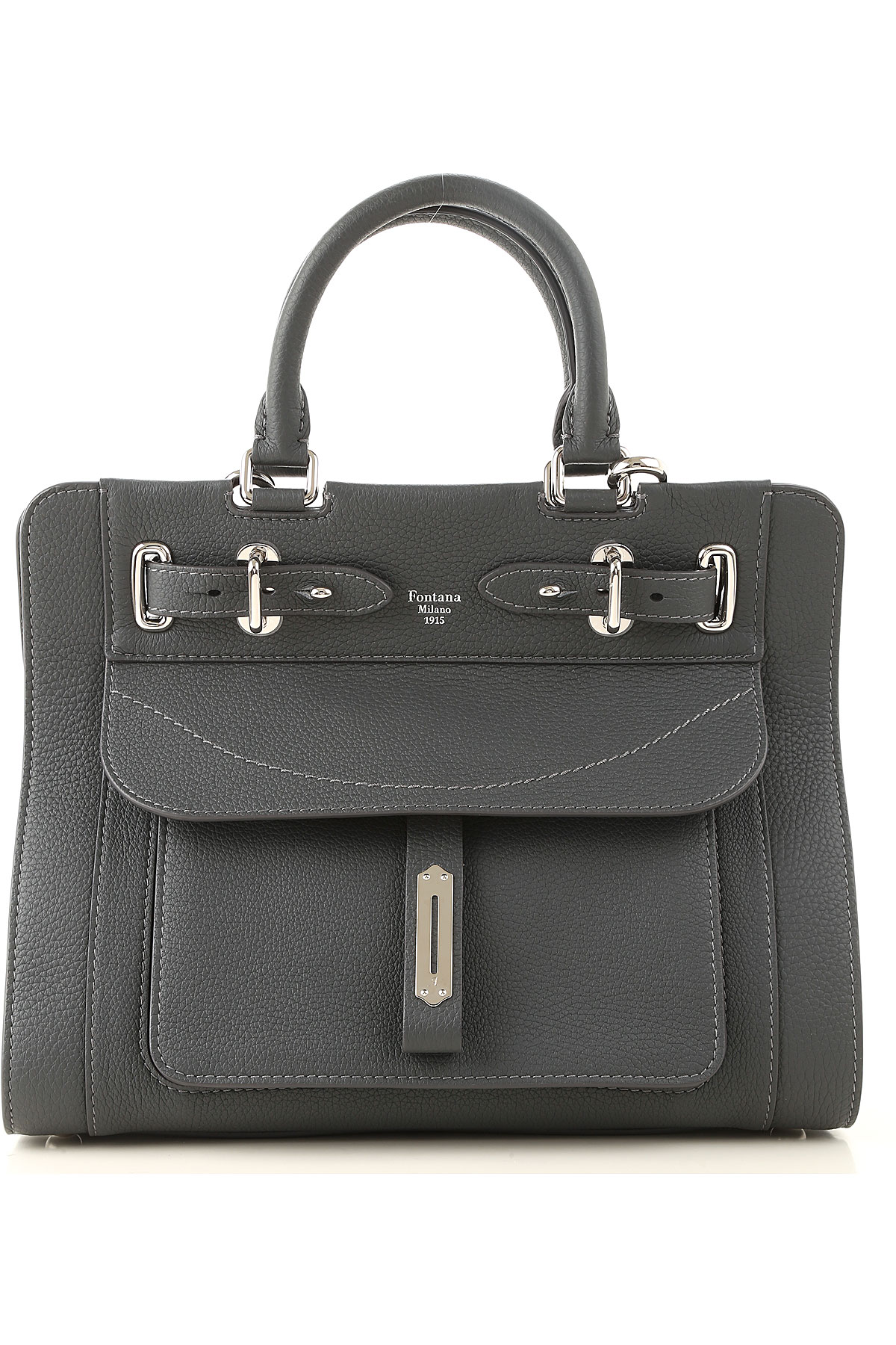 Fontana Top Handle Handbag, Rock, Crackle Leather, 2019