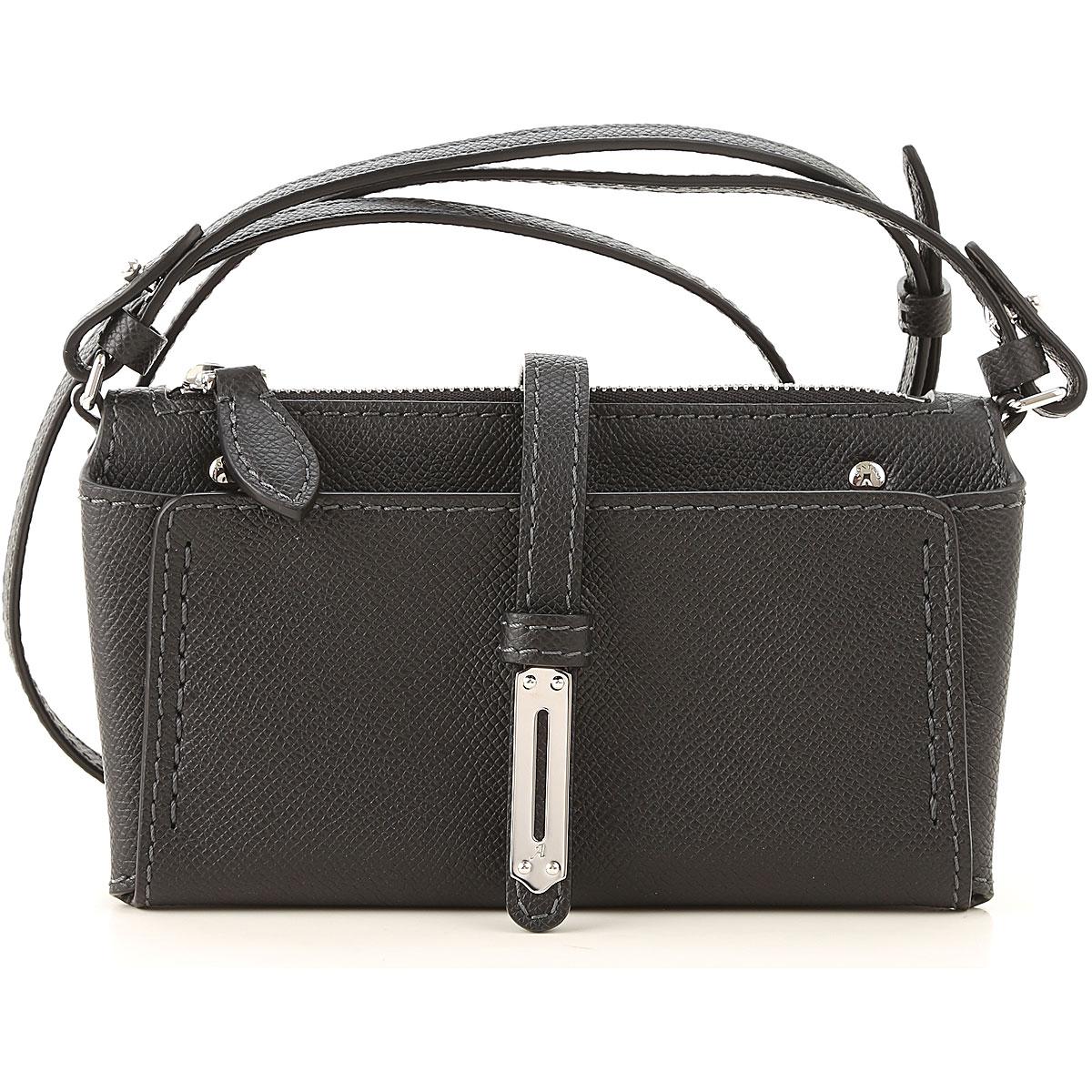 Fontana Shoulder Bag for Women On Sale in Outlet, Black, Crackle Leather, 2019