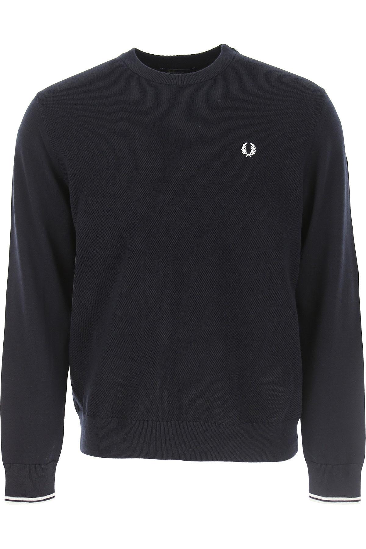 Fred Perry Sweater Voor Mannen, Donker Blauw Marine, Katoen, 2019, L M S XL XXL