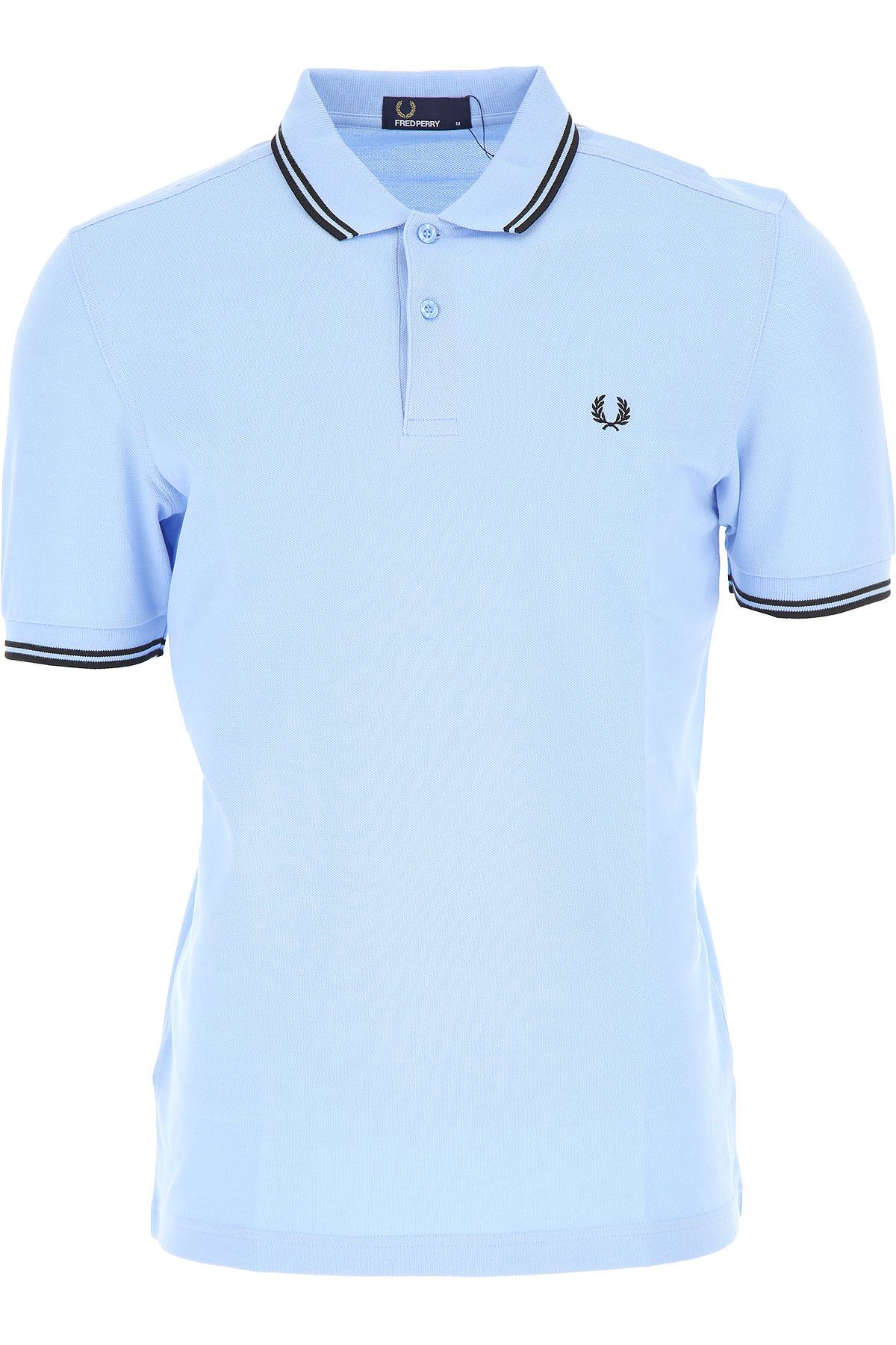Image of Fred Perry Polo Shirt for Men, Sky Blue, Cotton, 2017, L M S XL