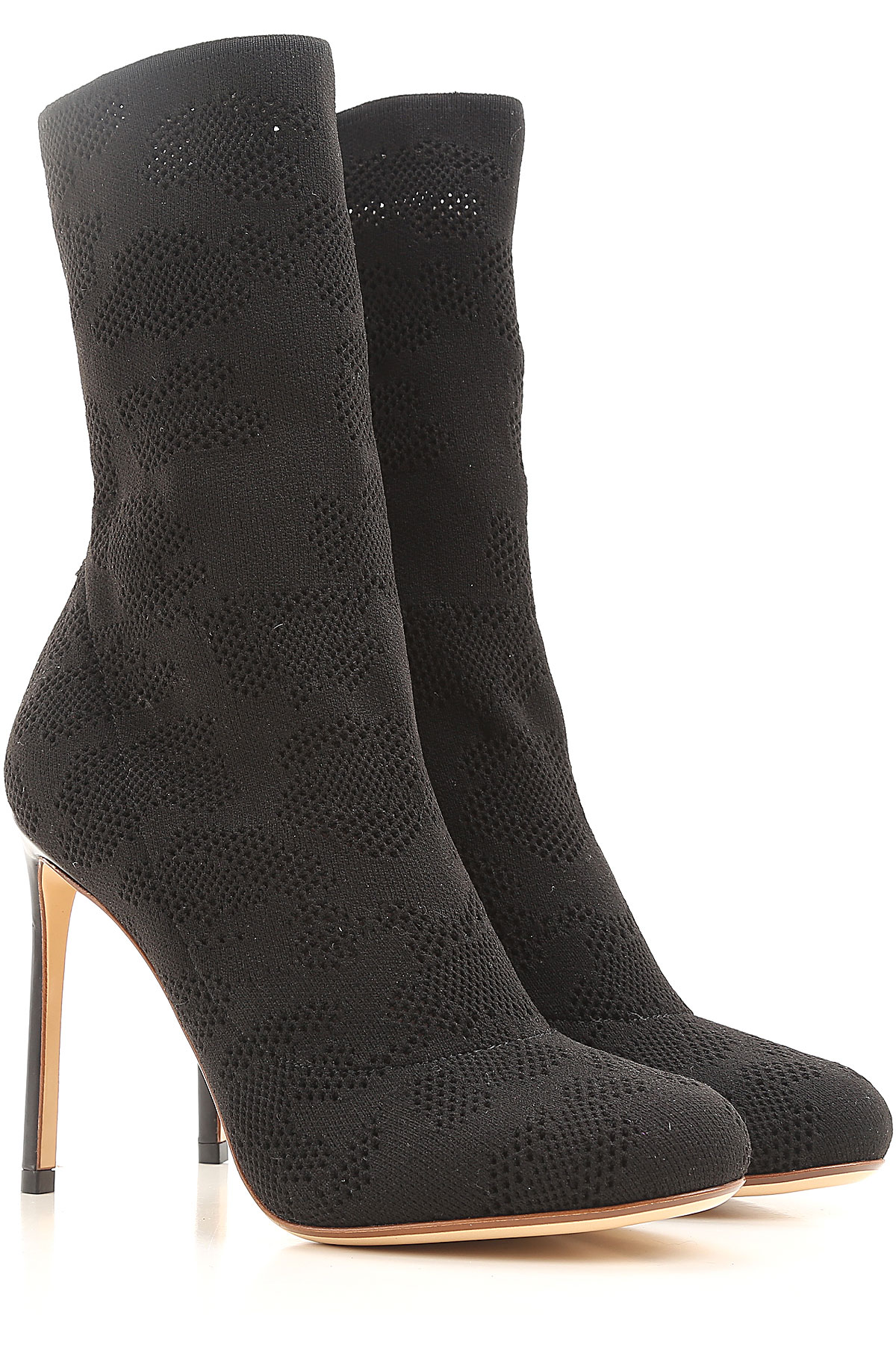 Francesco Russo Boots for Women, Booties On Sale in Outlet, Black, Fabric, 2019, 8.5 9