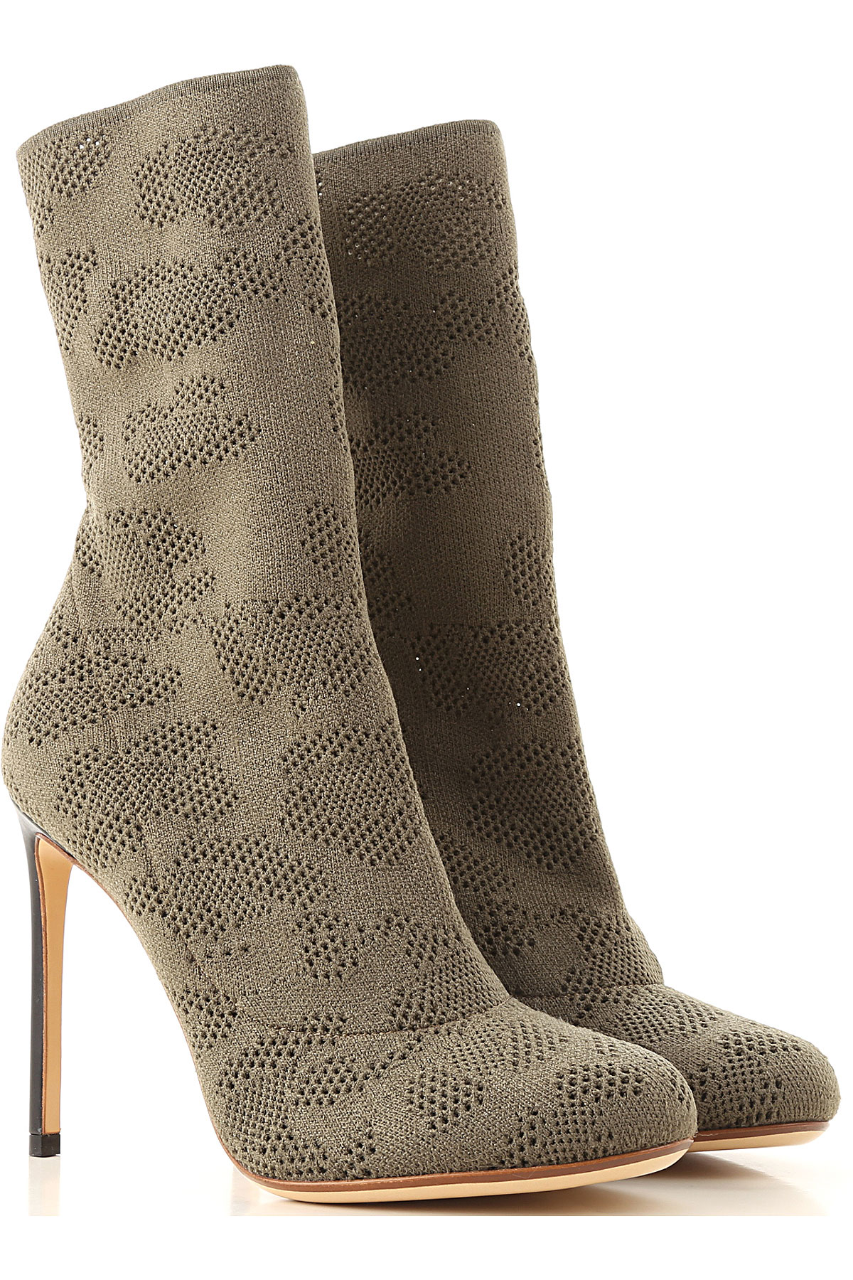Francesco Russo Boots for Women, Booties On Sale in Outlet, Kaki, Fabric, 2019, 10 6 7 8 8.5 9