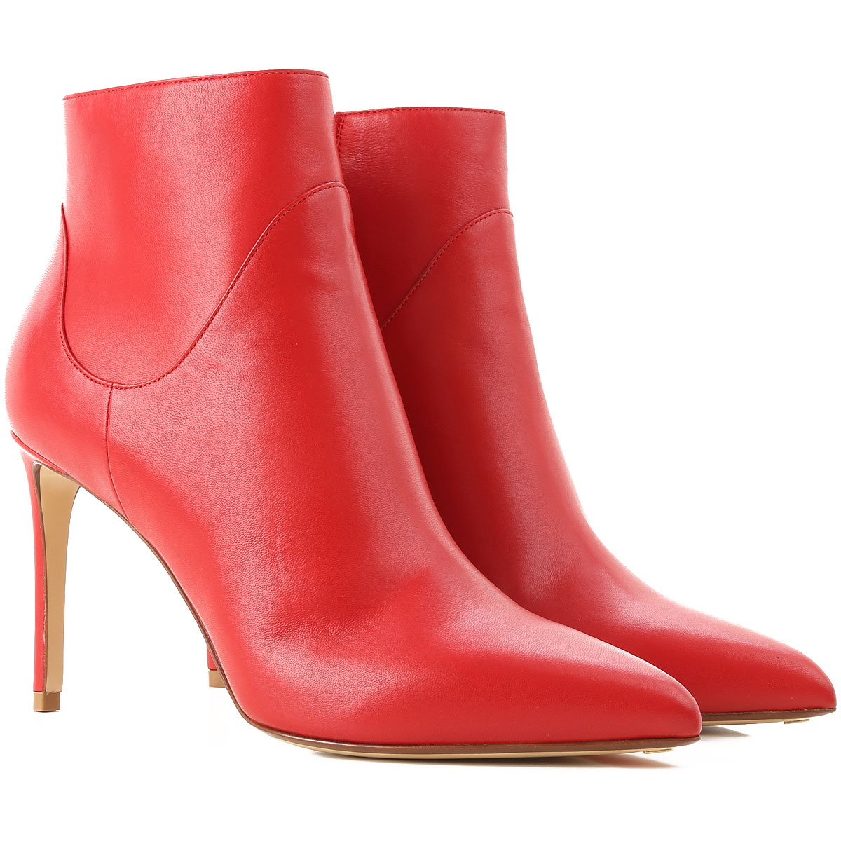 Image of Francesco Russo Boots for Women, Booties, Red, Leather, 2017, 10 6 7 8 8.5 9