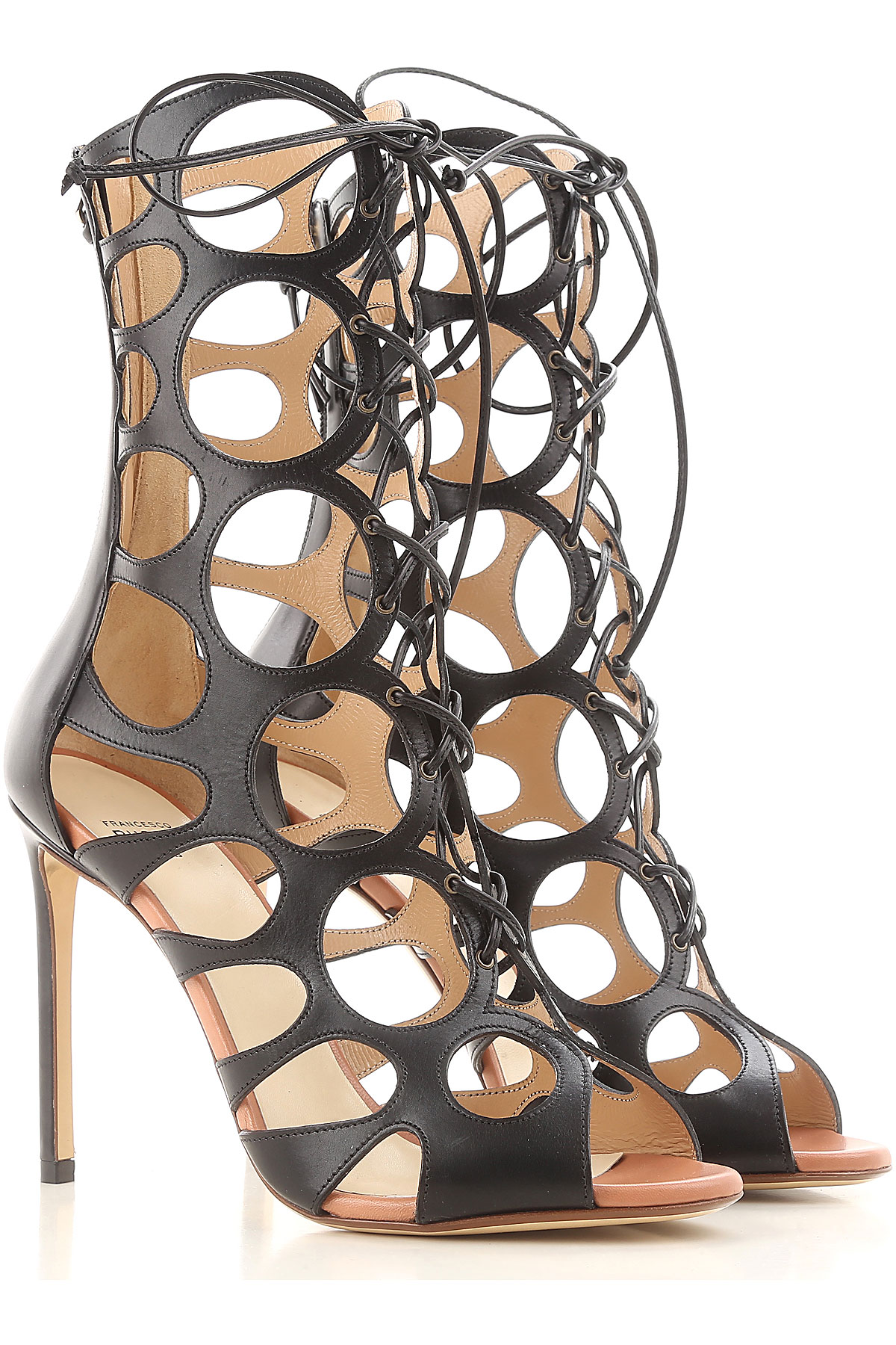 Francesco Russo Sandals for Women On Sale in Outlet, Black, Leather, 2019, 6 6.5 8