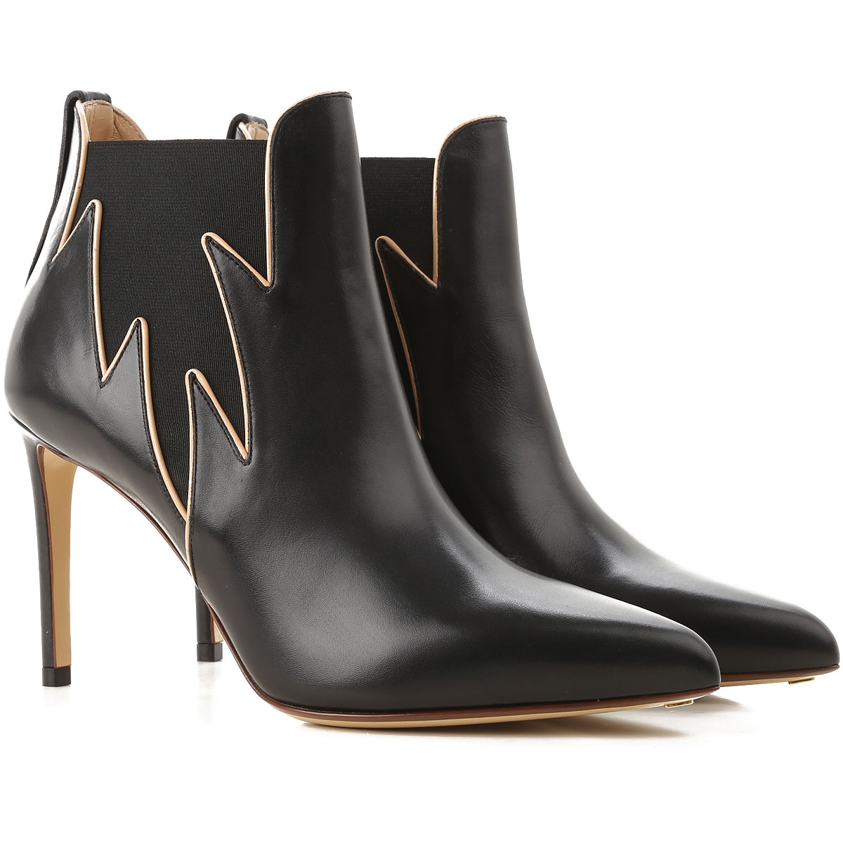 Image of Francesco Russo Boots for Women, Booties, Black, Leather, 2017, 10 6 7 8 8.5 9