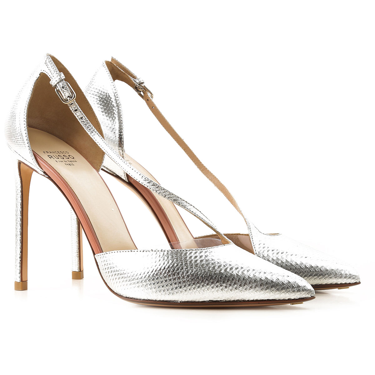 Francesco Russo Pumps & High Heels for Women On Sale in Outlet, Silver, Leather, 2019, 10 6 8.5 9