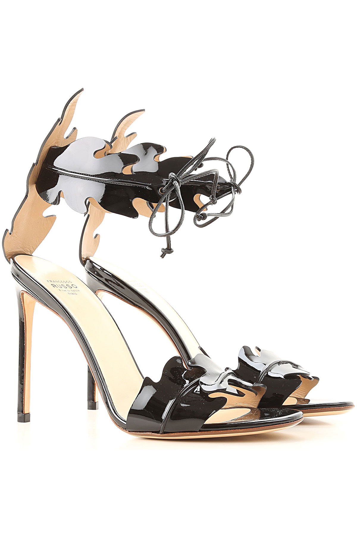 Francesco Russo Sandals for Women On Sale in Outlet, Black, Patent Leather, 2019, 8.5 9 9.5