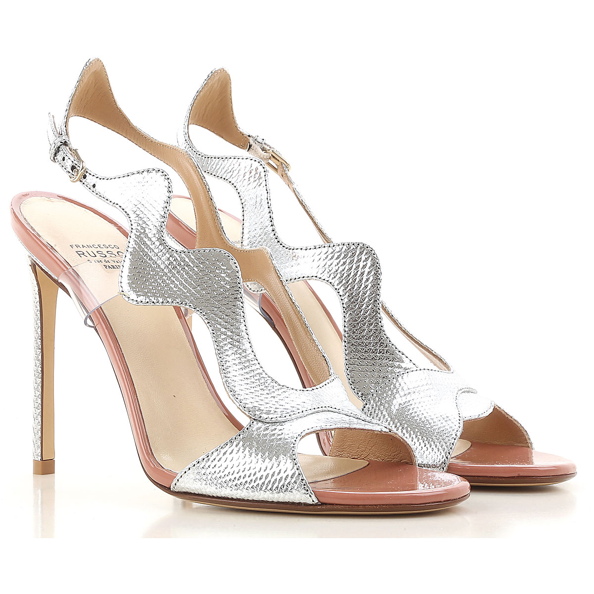 Francesco Russo Sandals for Women On Sale in Outlet, Silver, Leather, 2019, 6 8 8.5 9