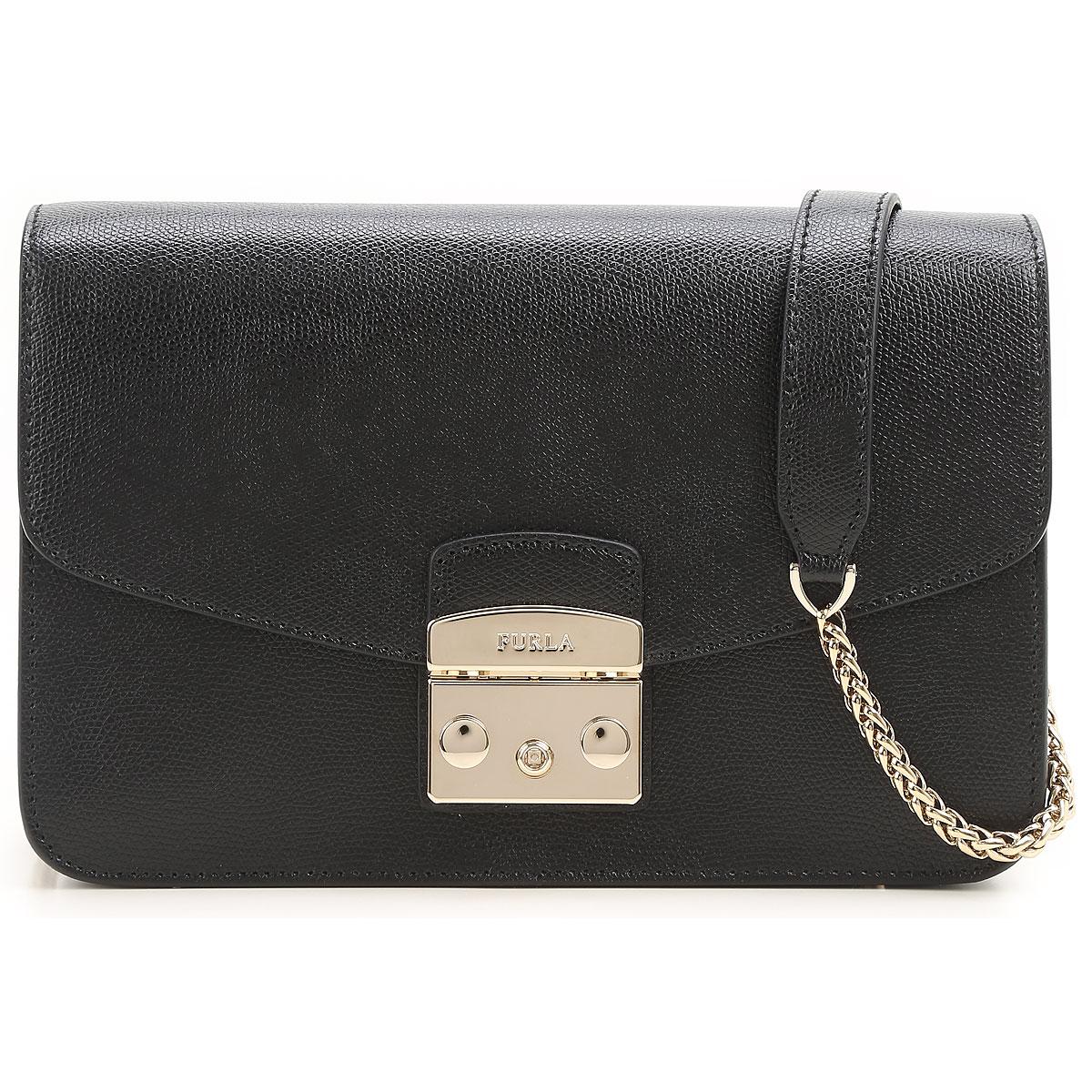Furla Shoulder Bag for Women On Sale, Metropolis S, Black, Leather, 2017