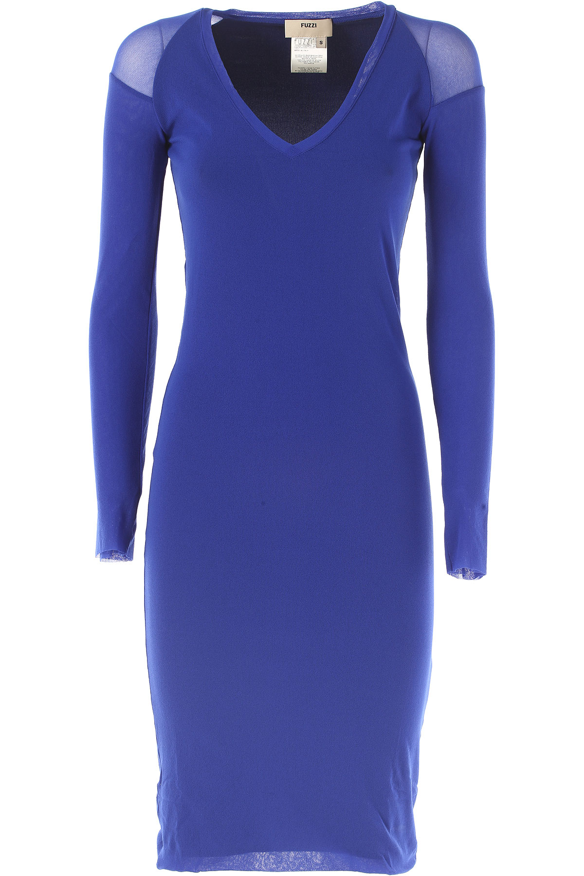 Image of Fuzzi Dress for Women, Evening Cocktail Party On Sale, Blue, polyamide, 2017, 4 8