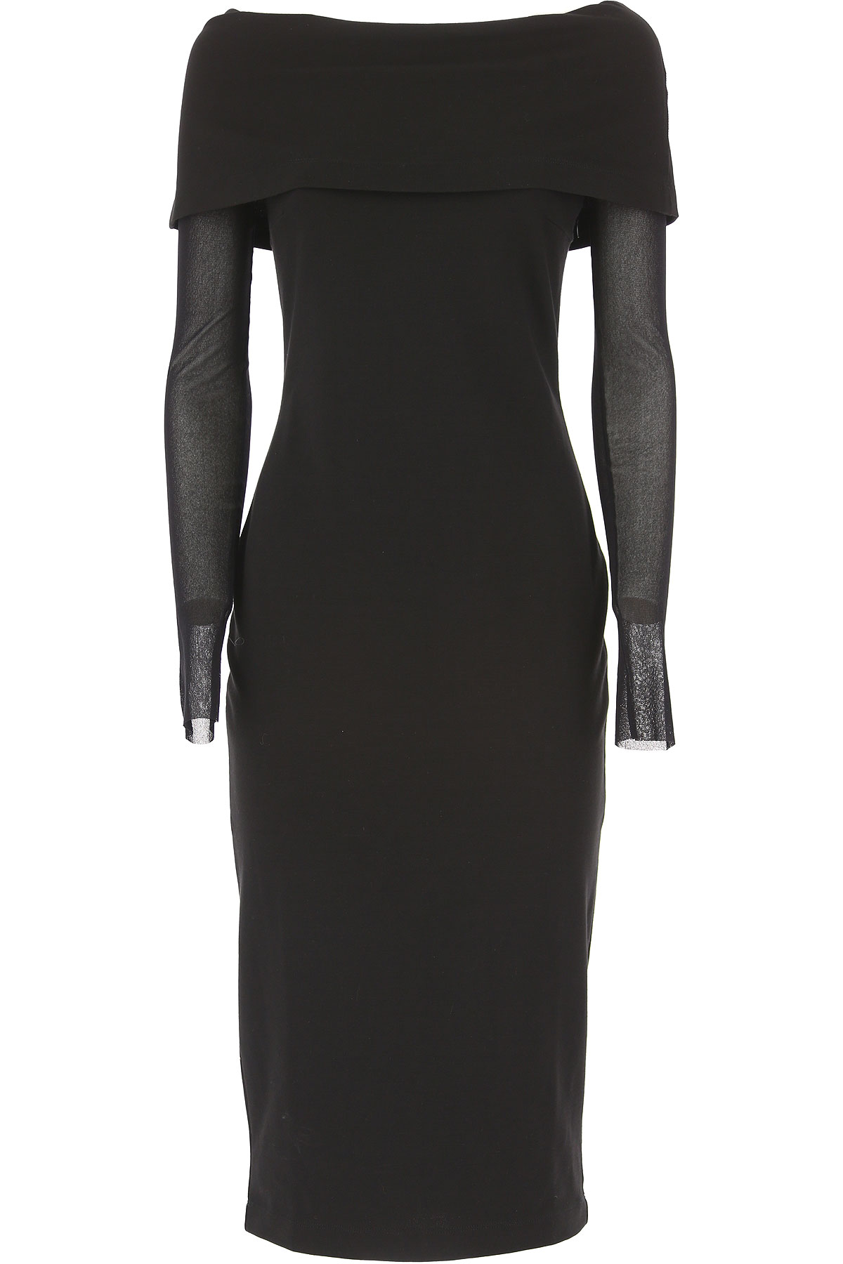 Image of Fuzzi Dress for Women, Evening Cocktail Party On Sale, Black, Viscose, 2017, 10 6