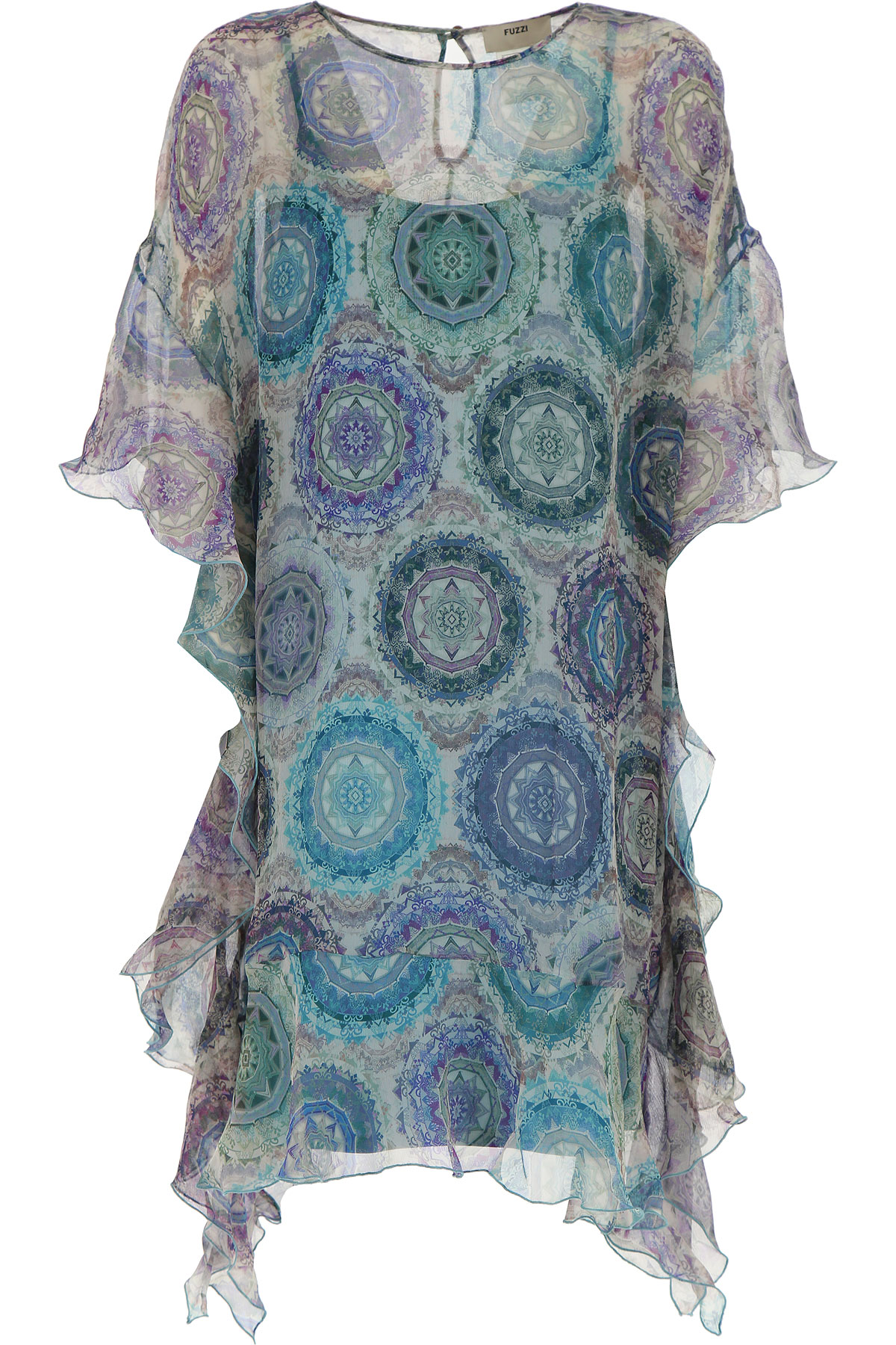 Image of Fuzzi Dress for Women, Evening Cocktail Party On Sale, Azure, Silk, 2017, 4 6