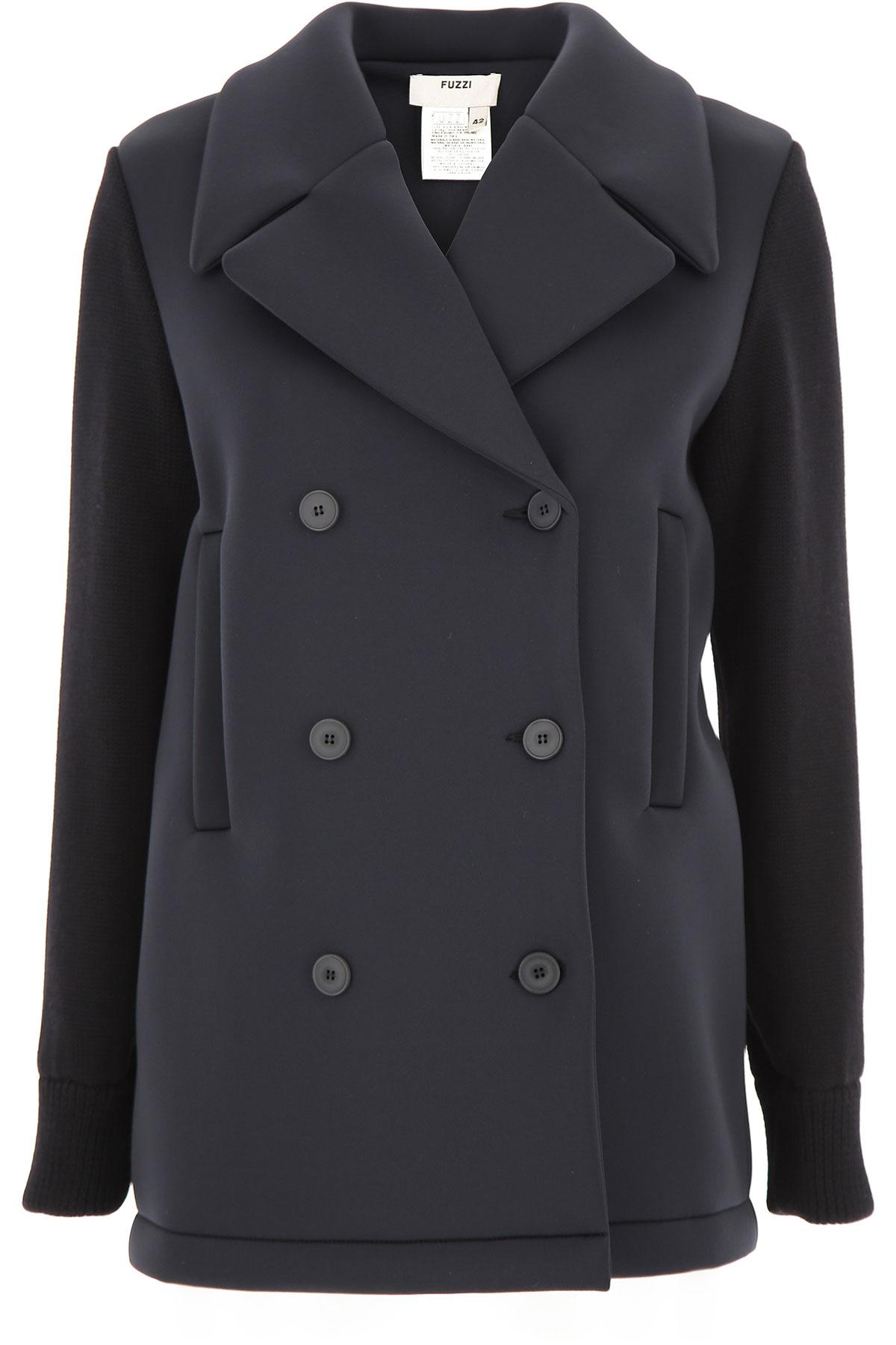 Fuzzi Manteau Femme Pas cher en Soldes, Noir, Polyester, 2019, 44 46 M