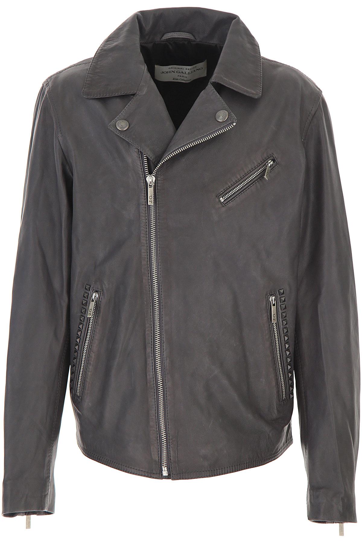 Galliano Kids Jacket for Boys On Sale, Dark Grey, Sheepskin Leather, 2019, 12Y 14Y
