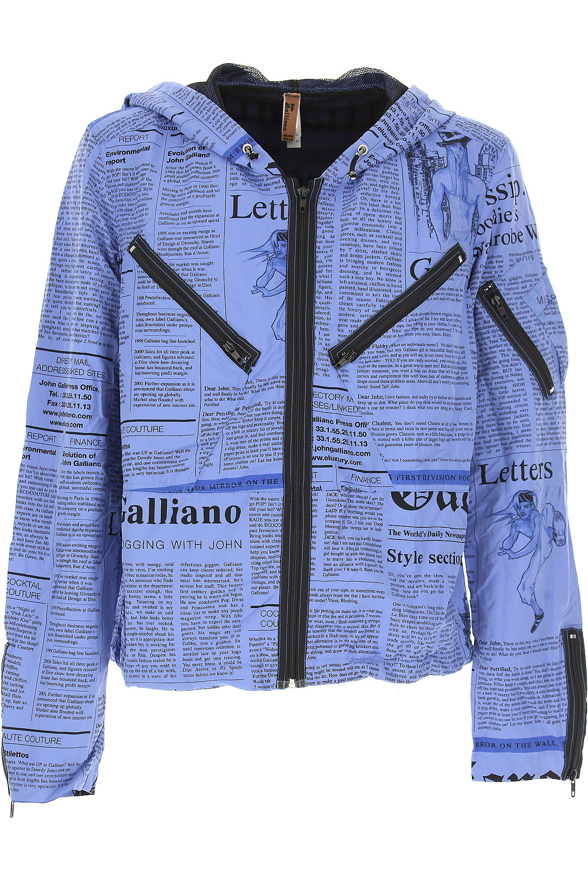 Image of Galliano Jacket for Men, Blue, polyester, 2017, L M XL
