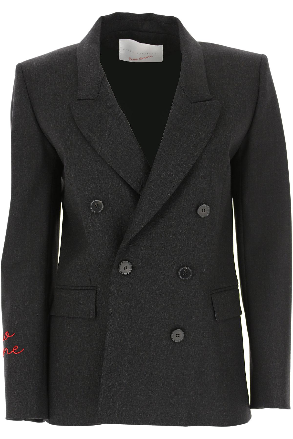 Giada Benincasa Blazer for Women On Sale, Anthracite Grey, Virgin wool, 2019, 4 8