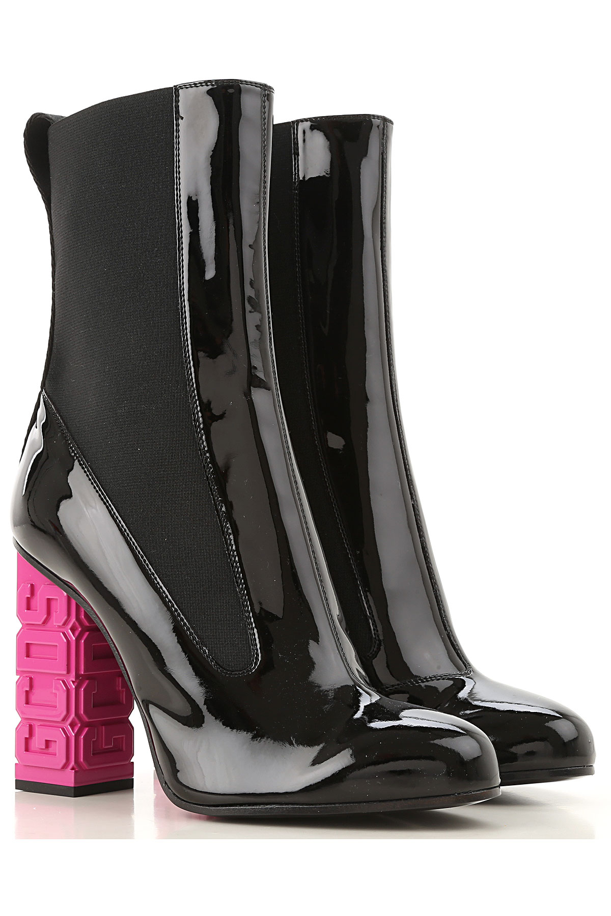 GCDS Boots for Women, Booties On Sale, Black, Patent Leather, 2019, 6 7 8 9