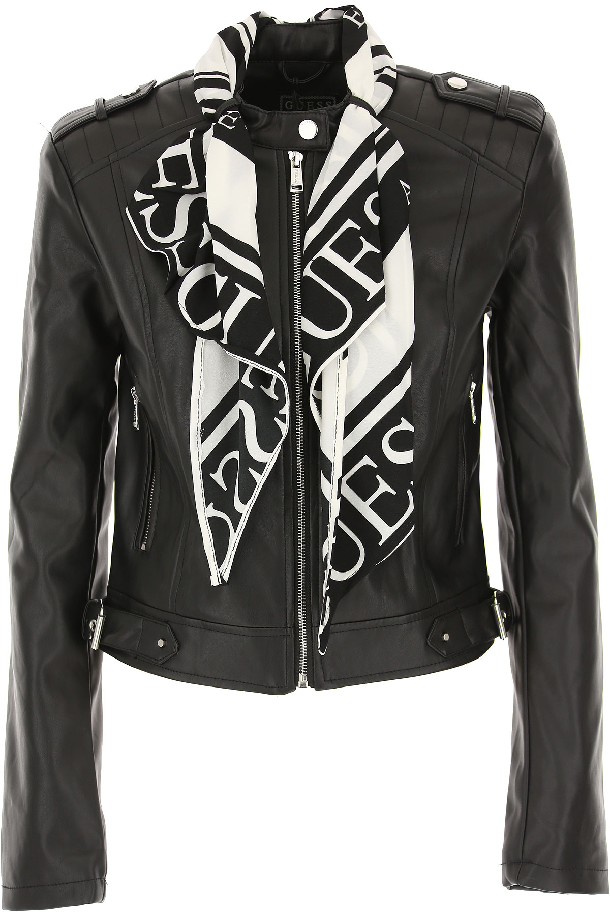Guess Jacket for Women On Sale, Black, polyurethane, 2019, 2 4 6 8
