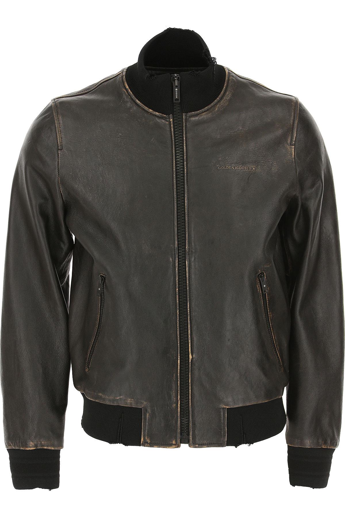 Golden Goose Leather Jacket for Men On Sale, Black Vintage, Leather, 2019, L M